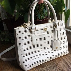 Tory Burch Robinson Satchel White Perforated Bag